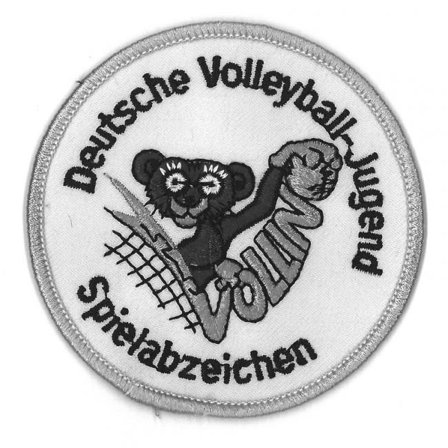 Aufnäher Silber für das Spielabzeichen Volleyball